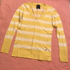 American Eagle Yellow Striped Sweater Shirt